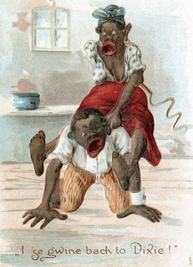Racist postcard comparing a Black couple to brutal animals