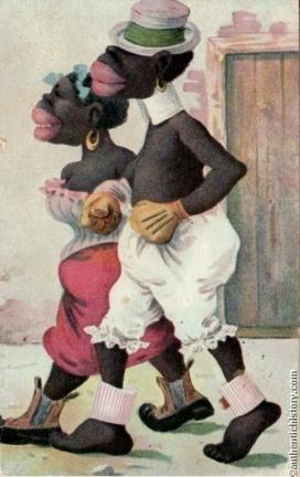 Racist postcard depicting Blacks as apes, 1910