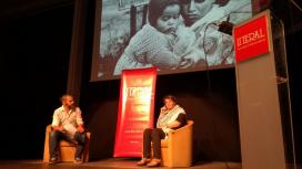 David Segarra interviewing Leila Khaled at the Fira Literal 2017. Photo: Fira Literal