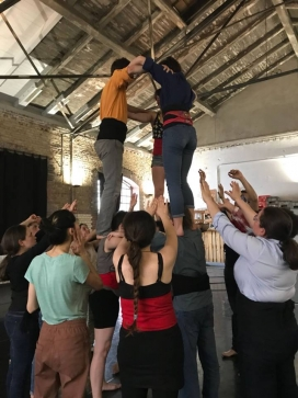 When the weather spoils the day, they can use a room that is leant to them for a small fee. Source: Castellers de Berlín
