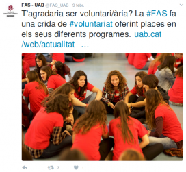 Call to volunteer by FAS / Photo: @FAS_UAB Twitter account