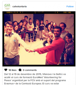 The Catalan Volunteering Foundation shares a photo of its training of volunteers on Instagram / Photo: @catvoluntaria Instagram account
