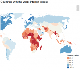 Map of countries with lowest access to the Internet. Photo: Independent (http://www.independent.co.uk)