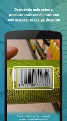 Screenshot of the application scanning a can barcode.   Source: Abouit