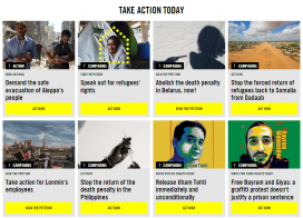 One organisation with many calls to action is Amnesty International / Image: www.amnesty.org