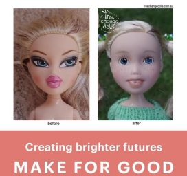 Before and after, the process of renovating a doll. Image: Tree Change Dolls