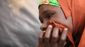 Widow refugee at Maiduguri camp after fleeing Boko Haram. Nigeria.