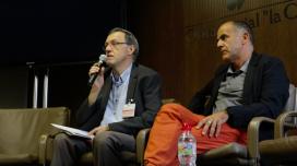 Rafael Ruiz de Gauna and Carles Descalzi during the conference.  Source: Adrià Milan