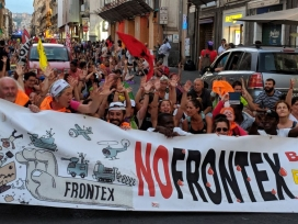 The Caravan denounces the violation of human rights in Catania.