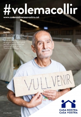 """Casa nostra casa vostra"" campaign poster. One of the campaign's goals is to show the human side of the refugee crisis."