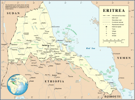 Eritrea, location on a map. Image: Wikipedia