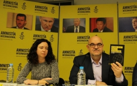 Esteban Beltrán, Head Officer of Amnesty International, presenting the report at the press conference. Photo: AI