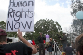 Demonstration asking for respect to human rights in Melbourne. Photo: Takver, Flickr