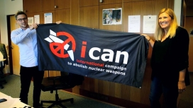 ICAN campaign members celebrating the award. Photo: Youtube
