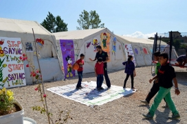 Children during a psychosocial session in a refugee camp / Photograph: BEYOND Association