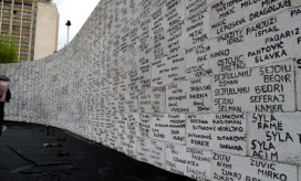 Wall with names of missing people in Kosovo