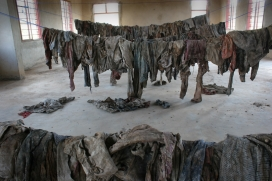 Clothes of genocide victims in Murambi