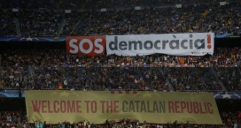 Banners of support on the Camp Nou stadium.