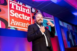 Hall Cruttenden, comedian and guest host in the Third Sector Awards 2017. Photo: TSA