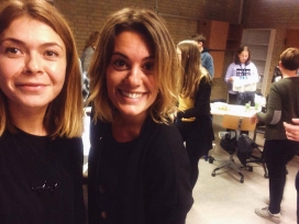 Francesca Pisano with a volunteer.   Source: Aarhus 2018