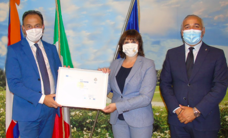 The Asti EVCapital 2023 Candidate certificate was received on behalf of Asti Municipality by the President, Alberto Cirio, and Vice President, Fabio Carosso, of the Piedmont Region at their Brussels office.