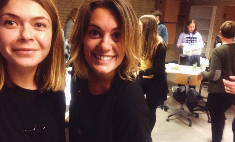 Francesca Pisano with a volunteer.   Source: Aarhus 2018