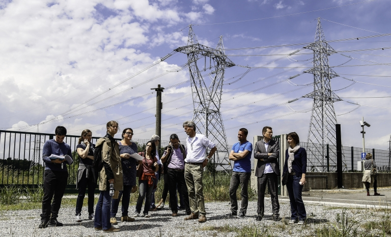 The Terna substation Maleo - site visit at the 'Grid aesthetics and landscape planning'-workshop / Photograph: RGI