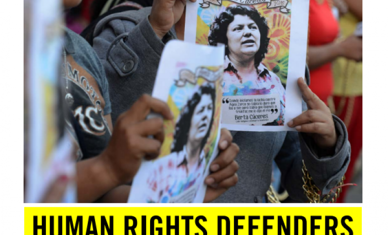 Front cover of the briefing 'Human rights defenders under threat'. Photo: Amnesty International