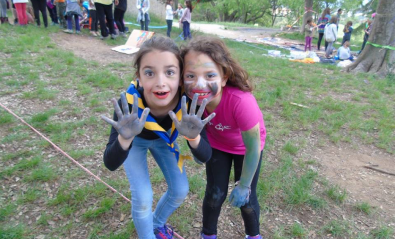 "Two members of the ""Follet"" unit (ages 6-8) engaged in an activity. Photo: Escoltes Catalans"