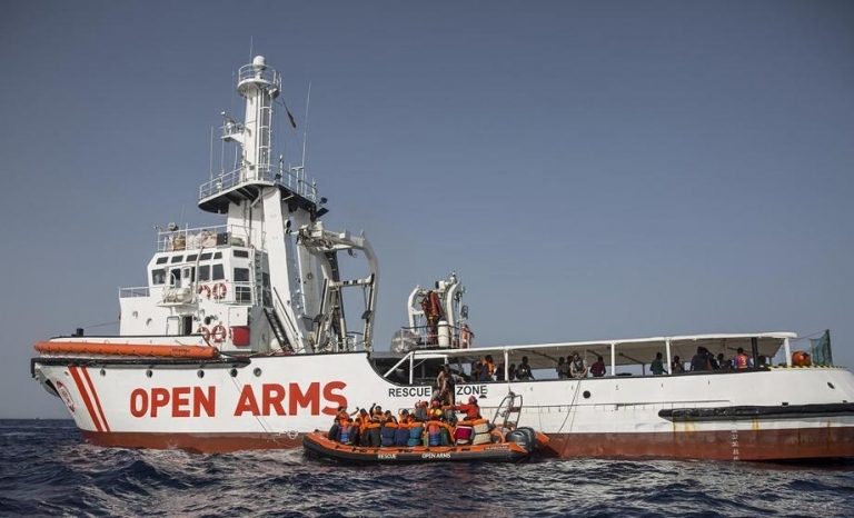 Open Arms ship rescuing  refugees in the Mediterranean Sea