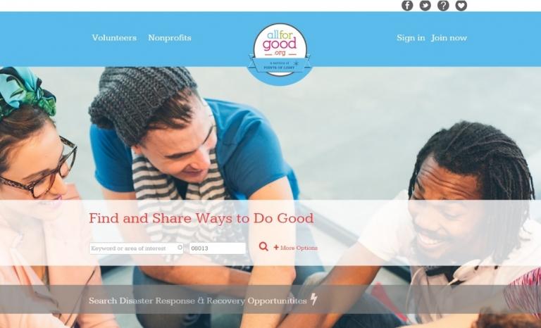 Homepage from Allforgood. Image: Allforgood