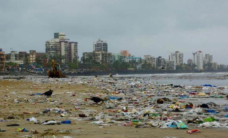 Mumbai beach covered in plastic waste