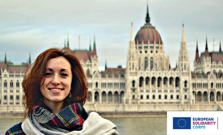 Manon, from France, is already on the ground. She will volunteer for ESC in Budapest / Image: ESC Facebook
