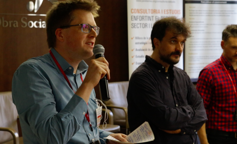 Gethyn Williams, with two colleagues, during the Eu3leader meeting.  Source: Adrià Milan