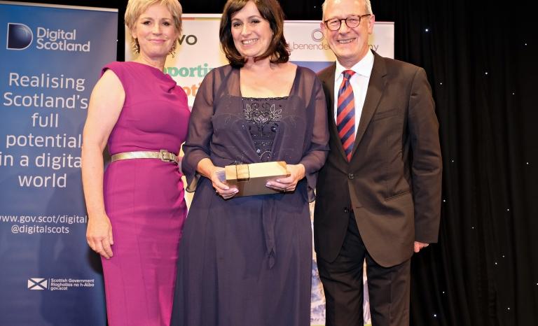 Celine Sinclair, winner of the Leading Light Award (The Yard). Photo: SCVO