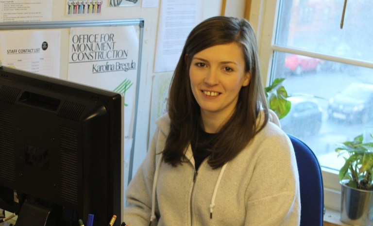 Clare McIntyre working at the office. Photo: Kinning Park Complex