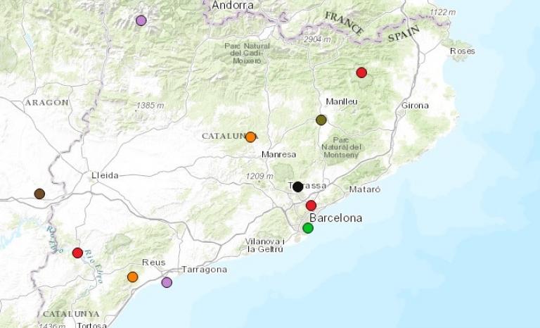 Socio-environmental conflicts in Catalonia. Image: EJAtlas