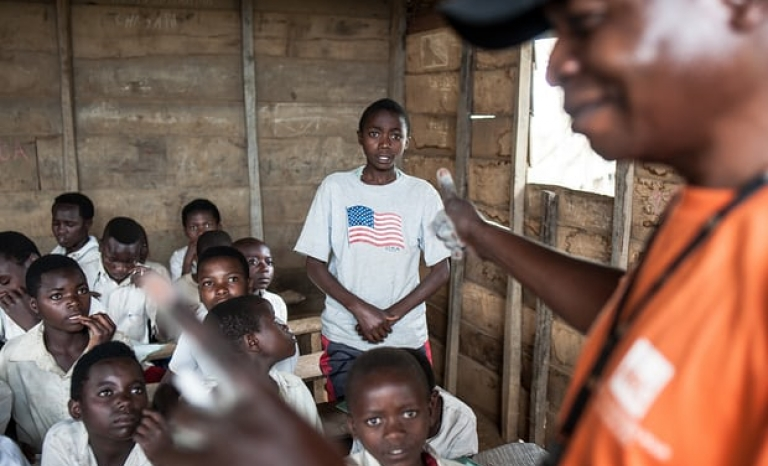 School time in a refugee camp in  Democratic Republic of Congo. The Guardian.