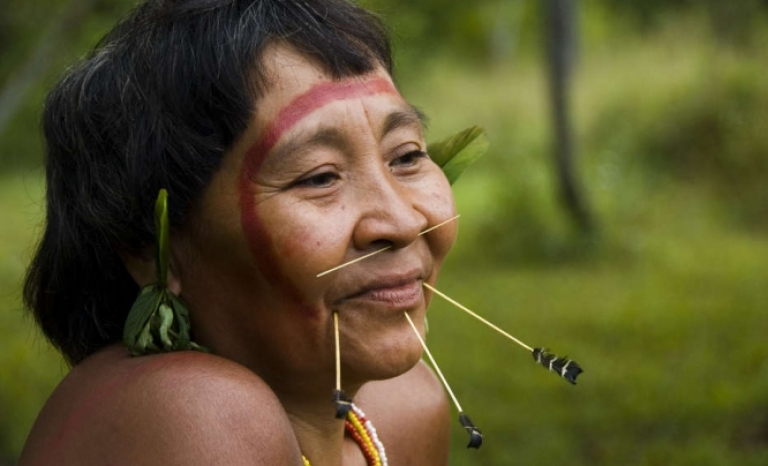 A woman from the 'yanomamis' village. Source: Survival International.