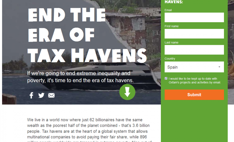 "Petition to ""end the era of tax havens"" / Image: www.evenitup.org"