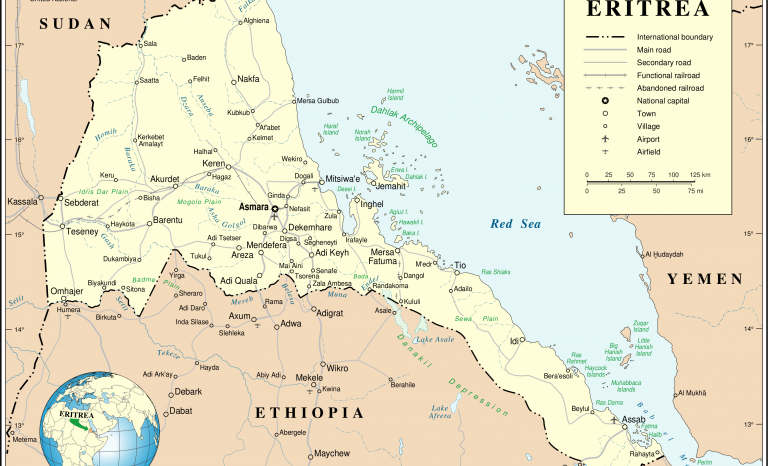 Eritrea, location on a map. Image: Wikipedia