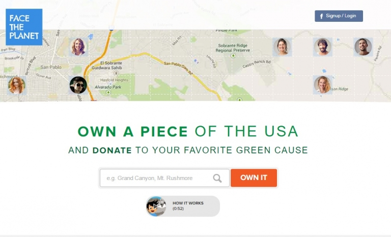 Face the Planet, a crowdfunding platform for environmental projects. Image: Face the Planet