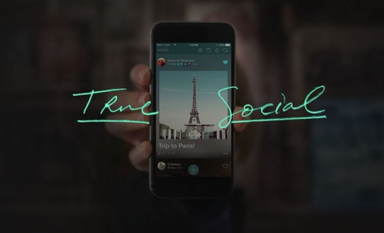 True Social is the slogan of the new community.  Font: Vero (Faceook)