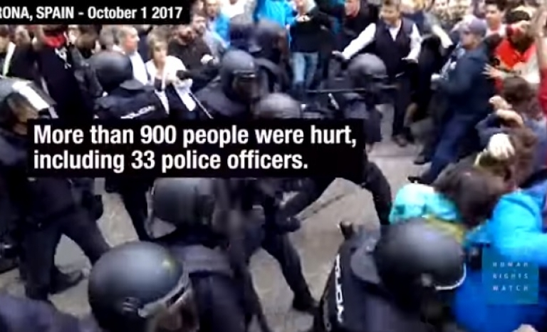 Force used by Spanish police against demonstrators. Photo: Youtube