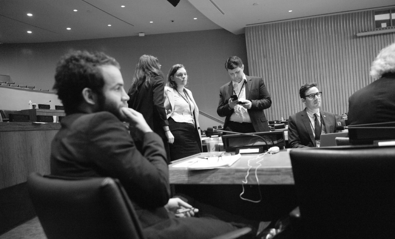 ICAN members in the United Nations General Assembly. Photo: Wikipedia