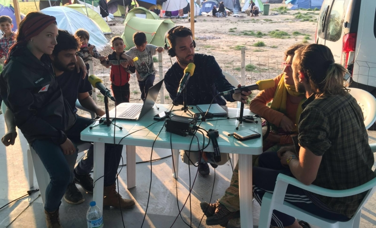The initiative came from a group of people working in the field of communication who met at refugee camps along the border between Greece and Macedonia