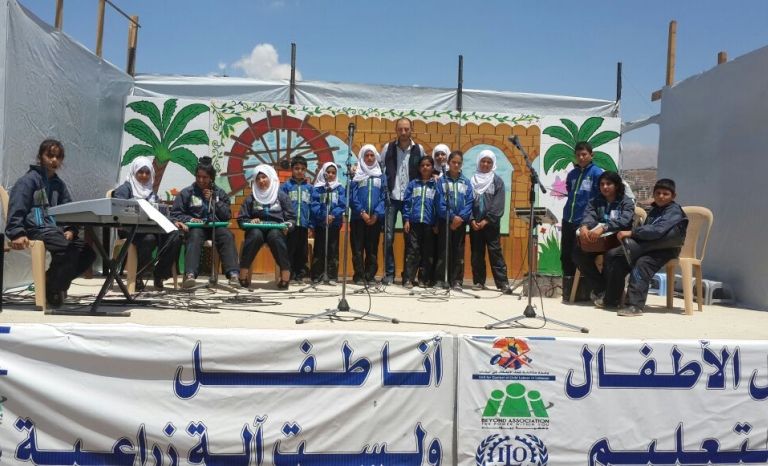 BEYOND's music club. Song lyrics are mainly written by children and talk about their hope of going back to Syria / Photograph: BEYOND Association