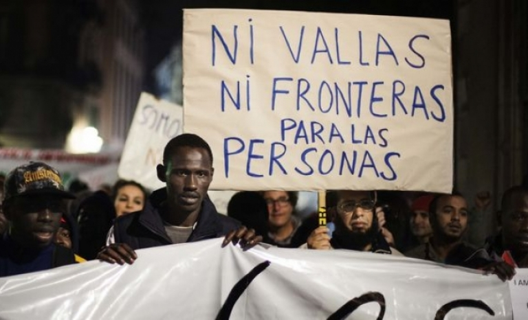 Demonstration in Barcelona for the International Day of Migrants.