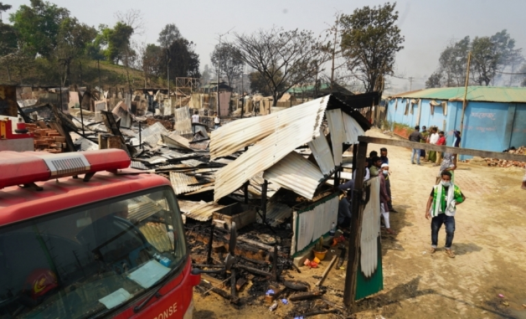 The Cox's Bazar camp suffered a big fire on the night of March 22nd.