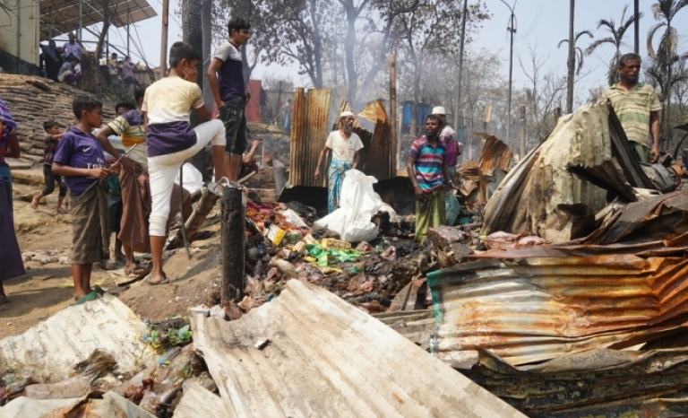 The fire has devastated the camps where nearly a million Rohingya take refuge.